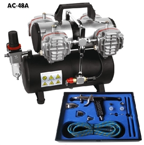 2 Switch Air Compressor With Air Tank, Pistol Air Gun And Tools - AC-48A-paints-and-accessories-Hobbycorner