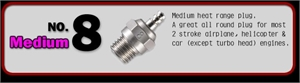 NO.8 GLOW PLUG -  71608001- 12 -  71608001/12-engines-and-accessories-Hobbycorner