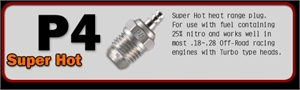 NO.P4 TURBO PLUG (SUPER HOT) -  71641400- 12 -  71641400/12-engines-and-accessories-Hobbycorner