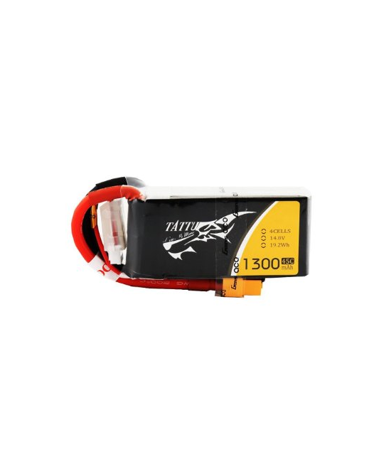 Tattu FPV 1300mAh 4S 14.8v 45C With XT60 Plug -  TA1300- 4S45